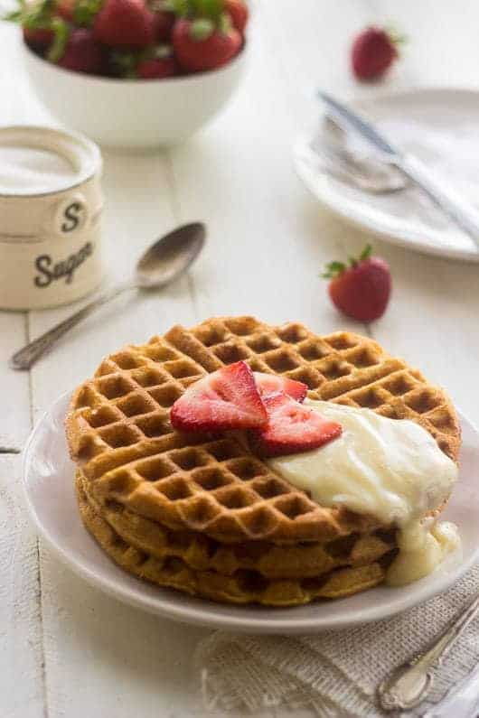 Whole Wheat Strawberries N' Cream Waffles - THE BEST waffles you will EVER eat - Food Faith Fitness | #breakfast #waffles #recipe