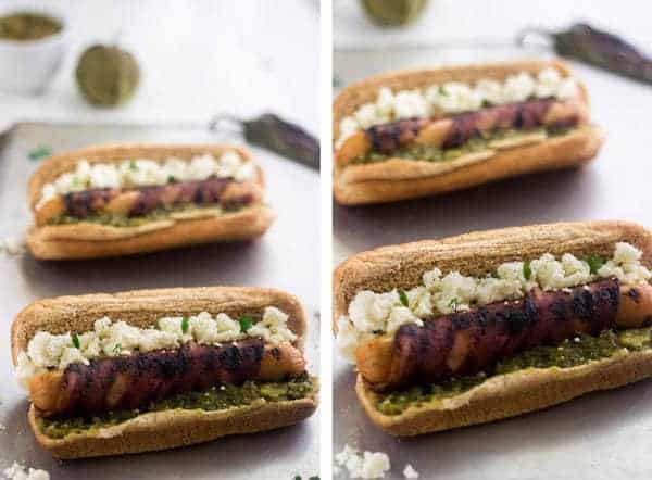 Healthy Bacon Wrapped Hot Dog with Salsa Verde and Queso Fresco | Food Faith Fitness| #July4th #hotdog #recipe