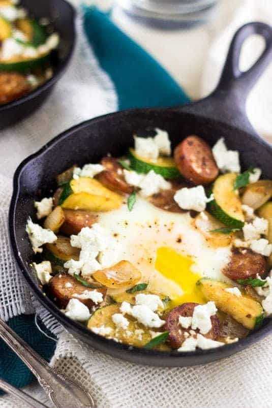 Goat Cheese, Zucchini and Chicken Sausage Hash - Creamy, healthy and SO amazing! | Food Faith Fitness| #glutenfree #hash #recipe