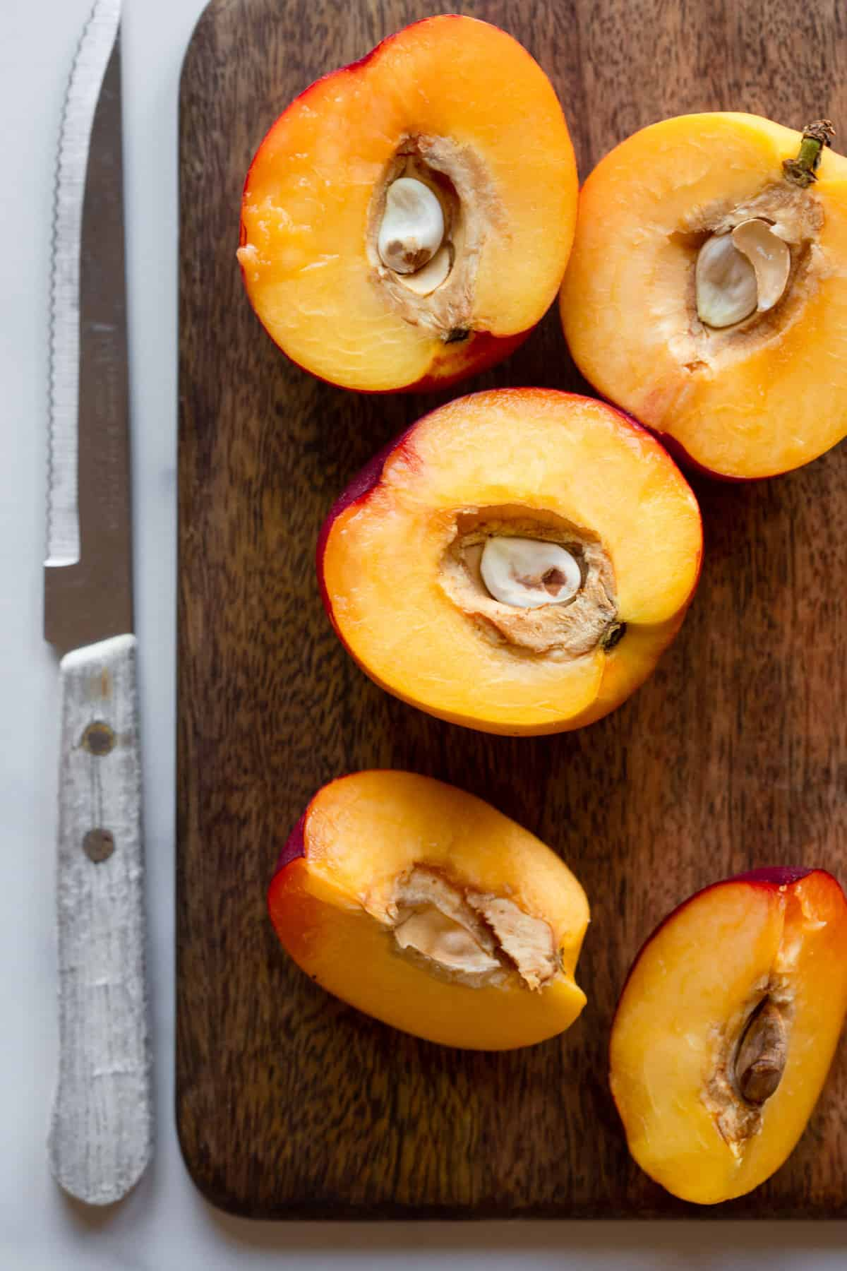 nectarine being slices up for the Nectarine Fruit Salsa recipe