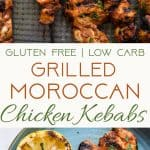 Grilled Moroccan Chicken Kebabs - These quick and easy, low carb Grilled Moroccan Chicken skewers are complete with a healthy, high protein yogurt mint sauce! Gluten free, only 1 Weight Watchers Freestlye point and SO delicious! | #Foodfaithfitness | #Lowcarb #WeightWatchers #Glutenfree #Healthy #Grilling