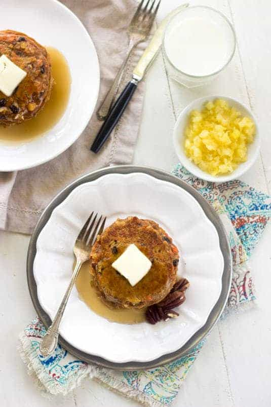 Whole Wheat Morning Glory Pancakes - A healthier, pancake version of the muffins! | foodfaithfitness.com| #breakfast #pancake #recipe