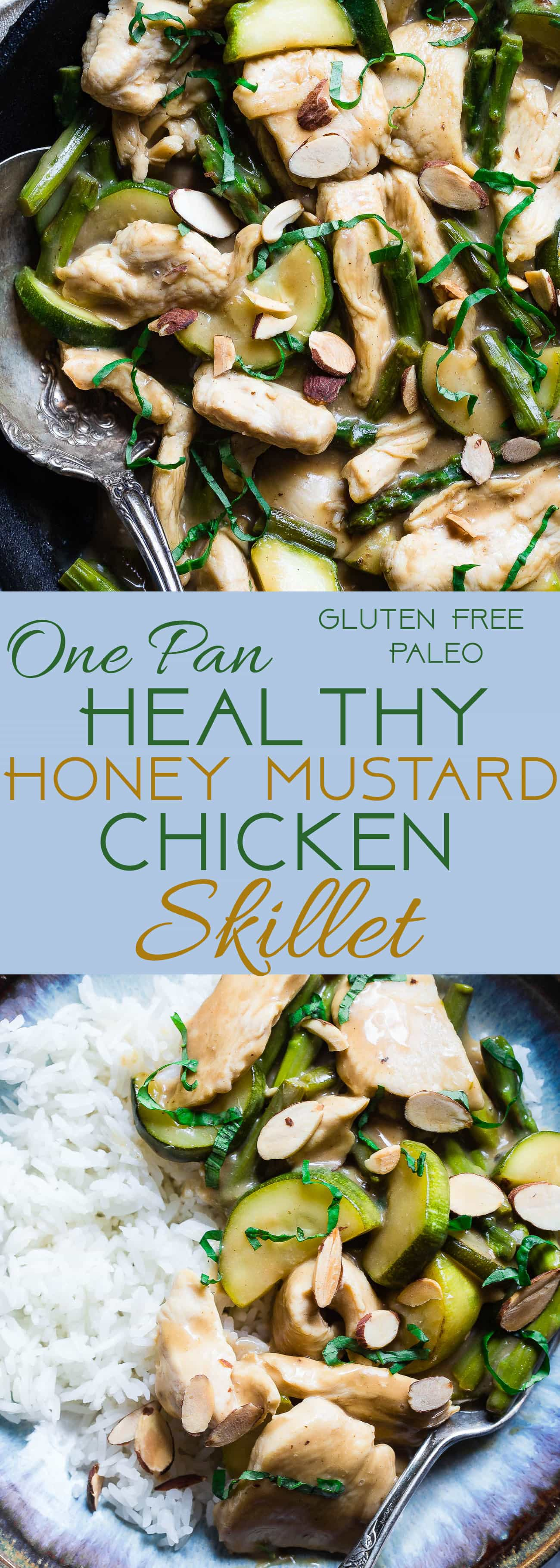 Easy Honey Mustard Chicken Skillet -  This paleo friendly chicken skillet is quick, easy and healthy! It's kid-friendly, 30 minute meal that makes great leftovers and perfect for busy weeknights! | Foodfaithfitness.com | @FoodFaithFit | Healthy honey mustard chicken. healthy chicken recipes. paleo chicken recipes. kid friendly dinners. one pot meals. 30 min meals.