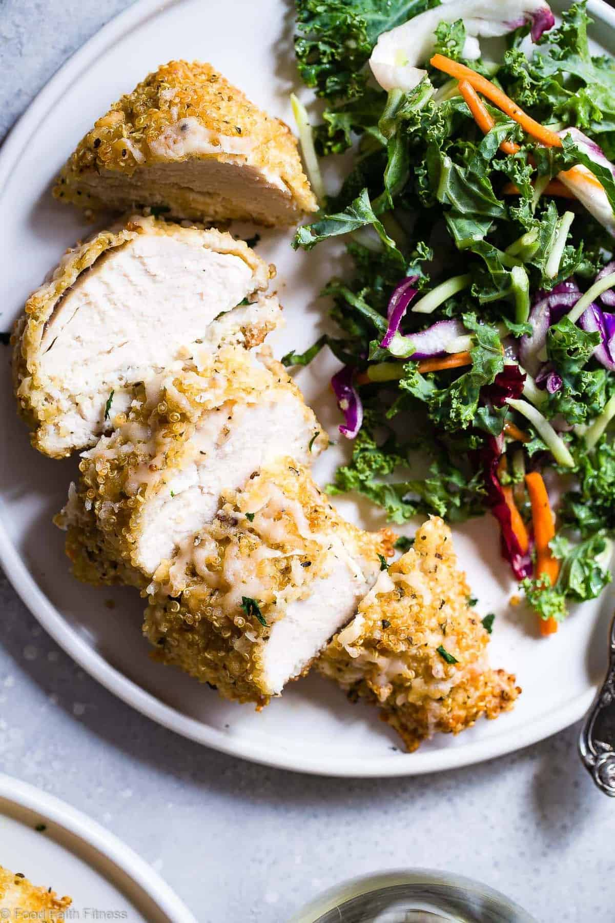 Goat Cheese Quinoa Crusted Chicken - Aquick, healthy and gluten free dinner that feels fancy, but is so easy! A perfect meal for busy weeknights that both kids and adults will love! | #Foodfaithfitness | #Glutenfree #Healthy #Cleaneating #Quinoa #Chickenrecipes