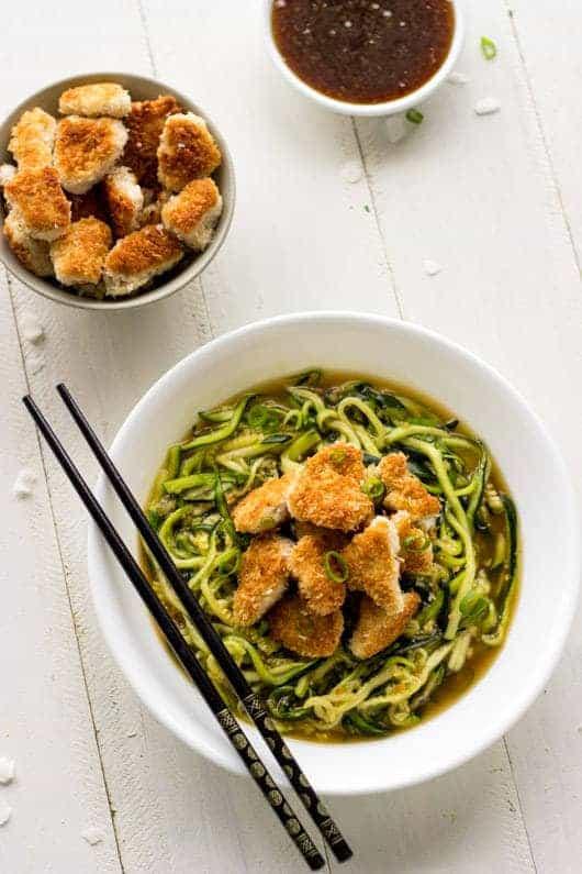 Coconut Honey Garlic Chicken and Zoodles - Crispy, Crunchy and Healthy!   Foodfaithfitness.com   #recipe #chicken #zucchininoodles