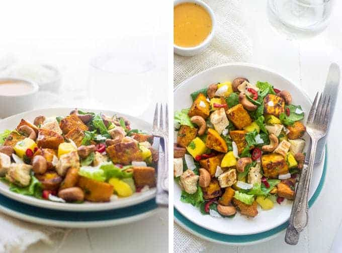 Curried Sweet Potato and Mango Salad - Sweet coconut and mango, and spicy curry roasted sweet potatoes and cashews, this salad has it all! | Foodfaithfitness.com | #glutenfree #salad #recipe