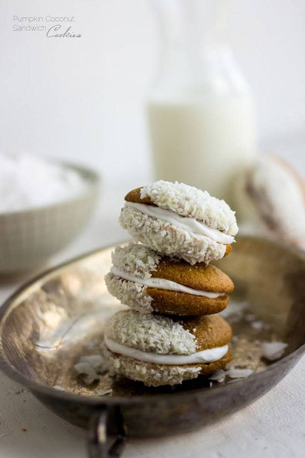 Pumpkin Cookies with Coconut Cream - These are SO good and they're whole wheat and have no butter! | Foodfaithfitness.com | #pumpkin #cookie #recipe