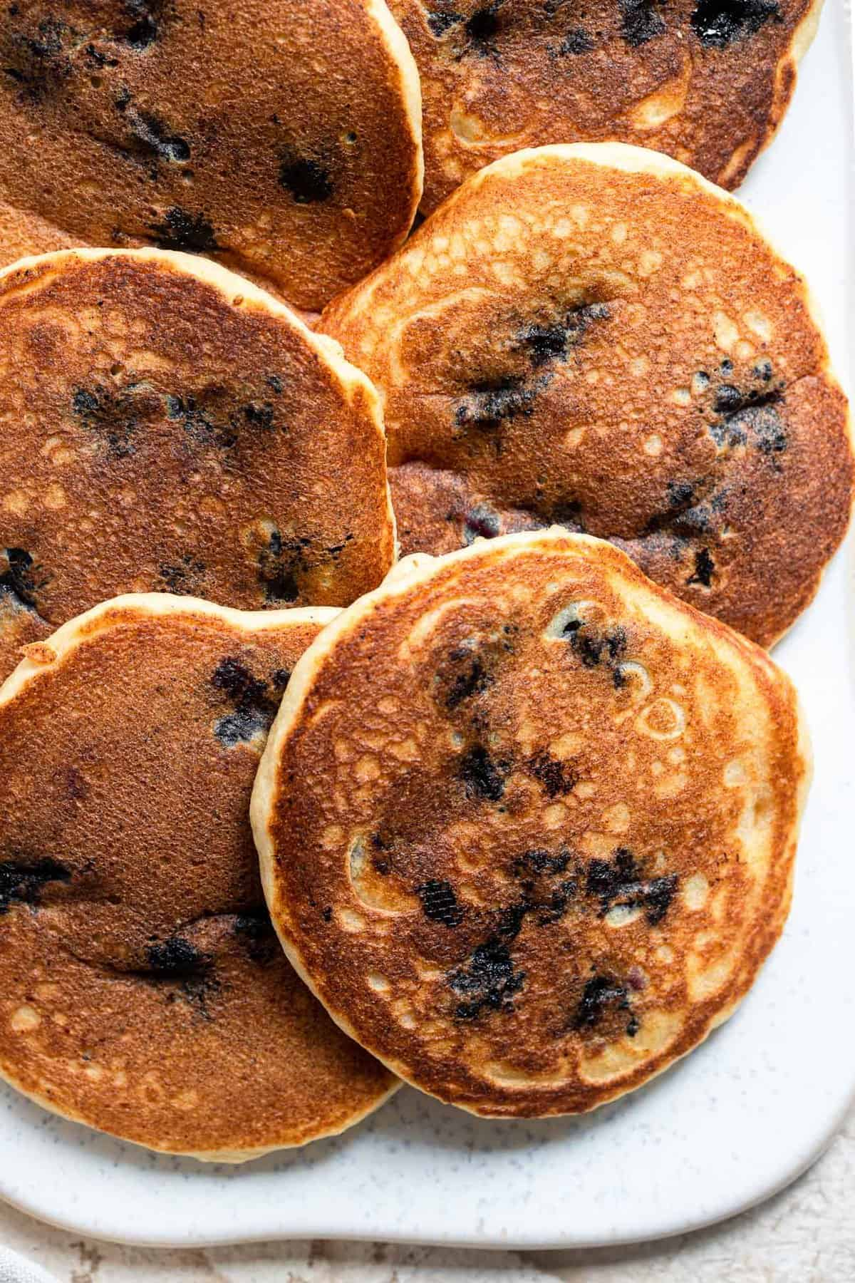 Close up of Healthy blueberry pancakes on a plate