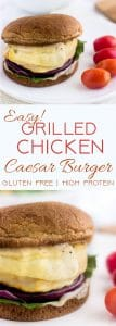 Grilled Chicken Caesar Burger - These taste like a salad on a bun. Easy, healthy, cheesy and only 350 calories and protein packed! Gluten free option too! | foodfaithfitness.com | @FoodFaithFit | Grilled chicken sandwich. Healthy chicken sandwich. gluten free chicken burger. gluten free chicken sandwich. healthy lunch recipes.