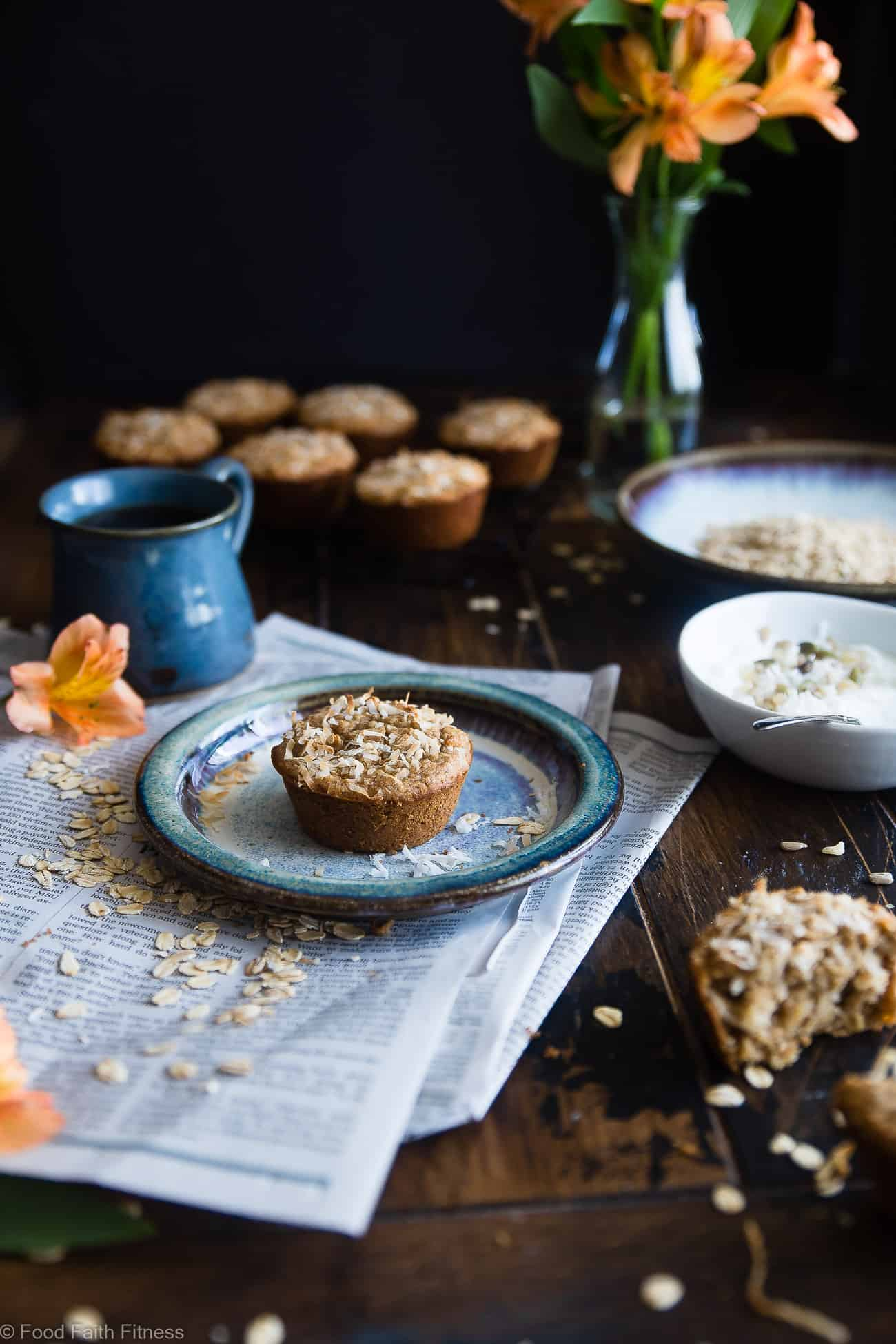 Flourless Oatmeal Applesauce Almond Butter Muffins - These healthy, dairy free muffins are made with simple, wholesome ingredients like oatmeal and almond butter and topped with coconut! They use applesauce instead of oil to keep them SO moist! | #Foodfaithfitness | #Glutenfree #Healthy #Almondbutter #Coconut #Muffins
