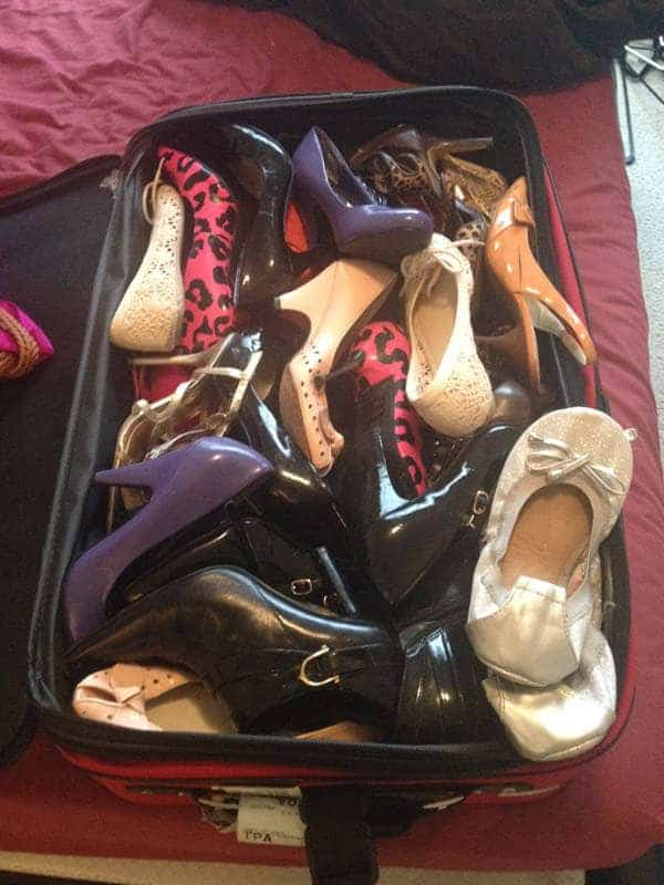 Packing was hard with the amount of shoes I own.