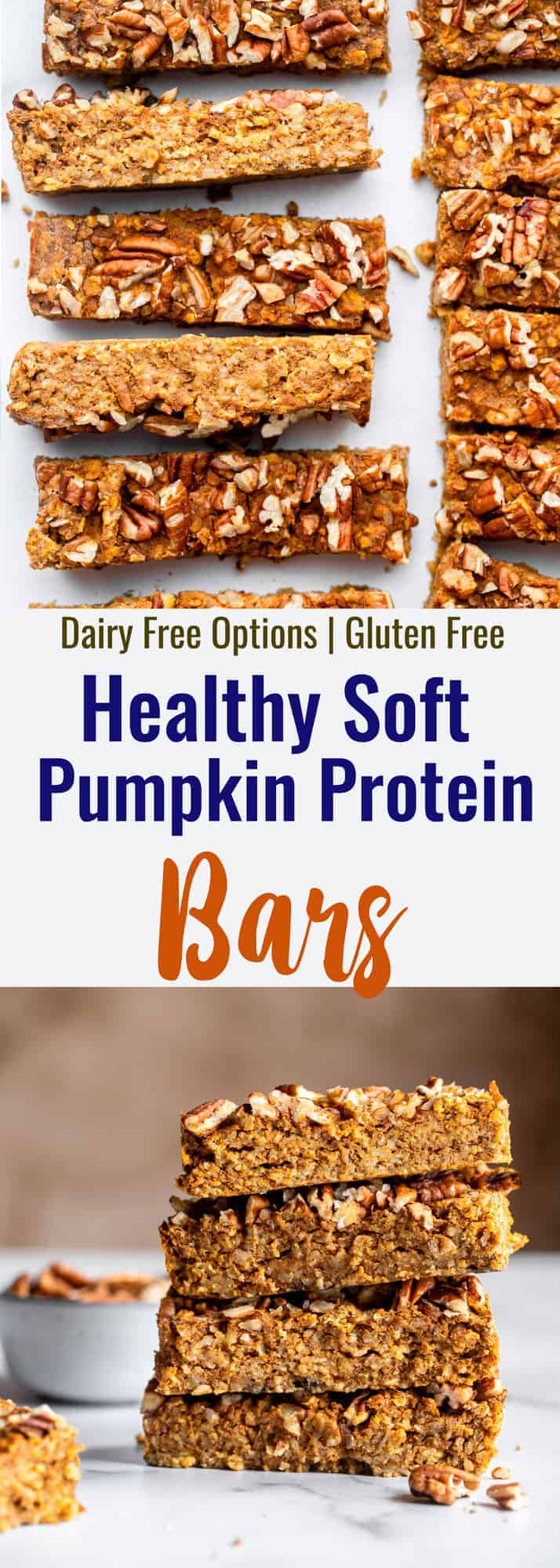 homemade pumpkin protein bars collage photo