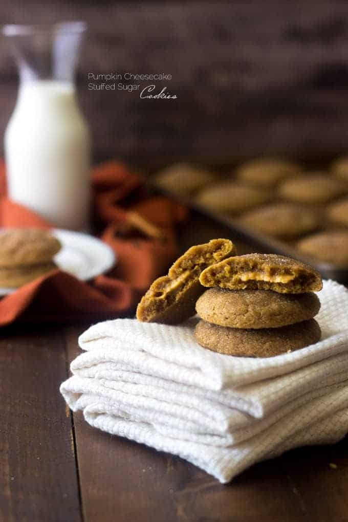 Sugar Spice Cookies with Pumpkin Cheesecake Filling - These are AMAZING! You would never know they're whole wheat! | Foodfaithfitness.com | #pumpkin #cookie #recipe