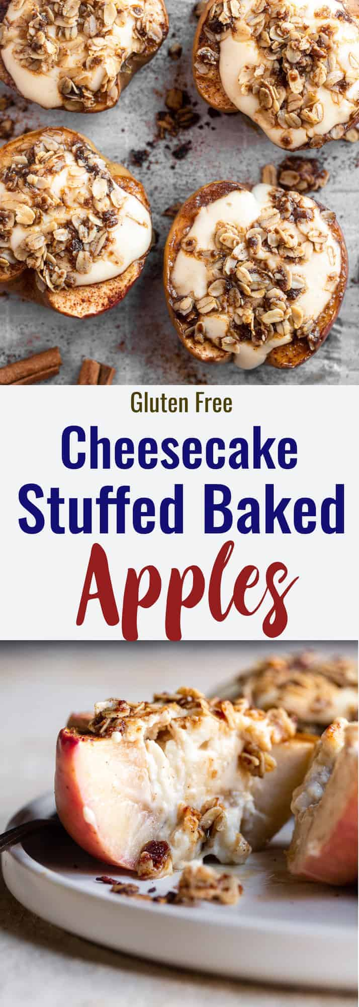 Cheesecake Stuffed Apples collage photo