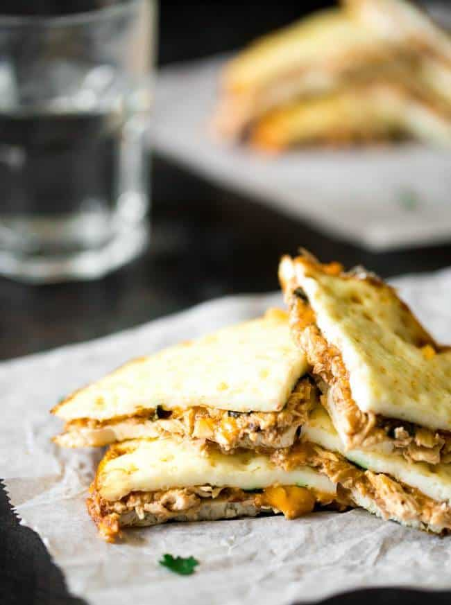 Skinny BBQ Chicken Quesadillas - A surprise ingredient keeps these healthy, gluten free and low calorie! Only 5 ingredients and SO easy! | Foodfaithfitness.com | #recipe
