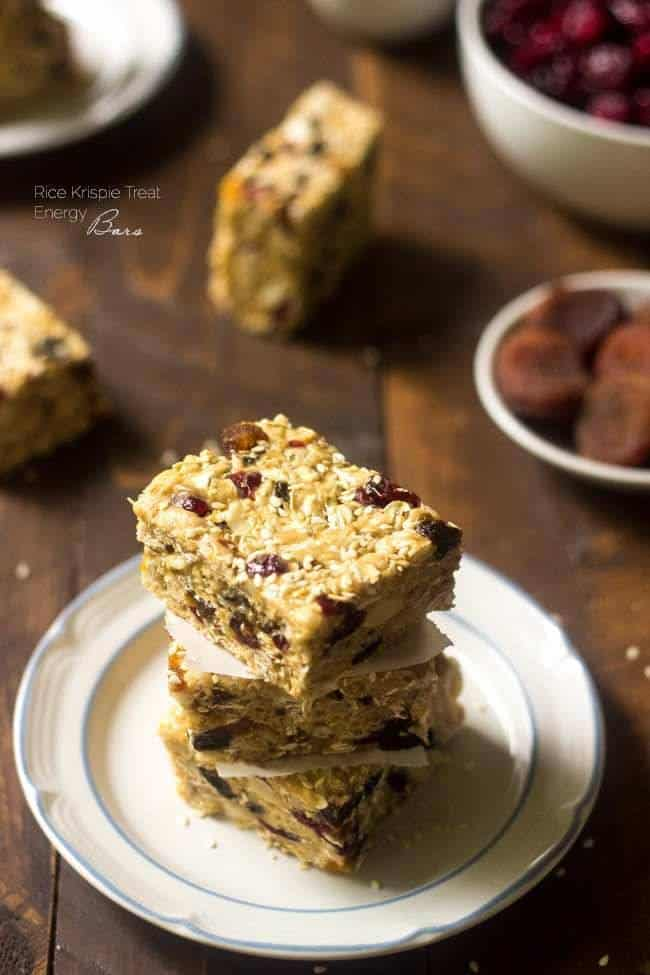 Rice Krispie Treat Energy Bars - A grown up version of the childhood treat that is SO easy, healthy and packed with energy! | Foodfaithfitness.com | #recipe #glutenfree