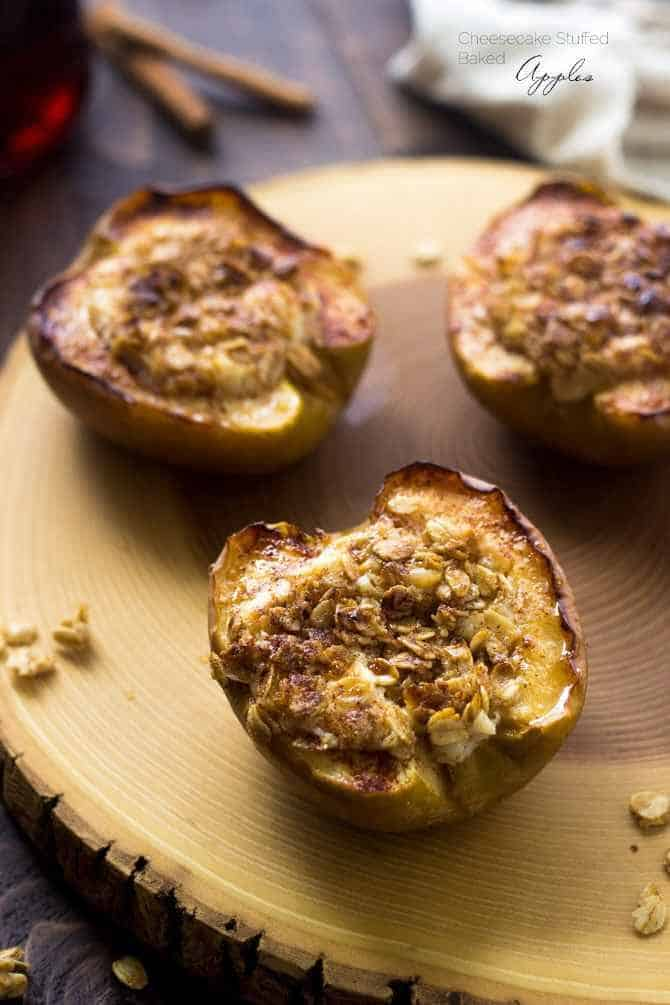 Cheesecake Baked Apples with Brown Sugar Streusel - These little treats are lightened up and SO quick and easy! You are going to LOVE them! | Foodfaithfitness.com | #recipe