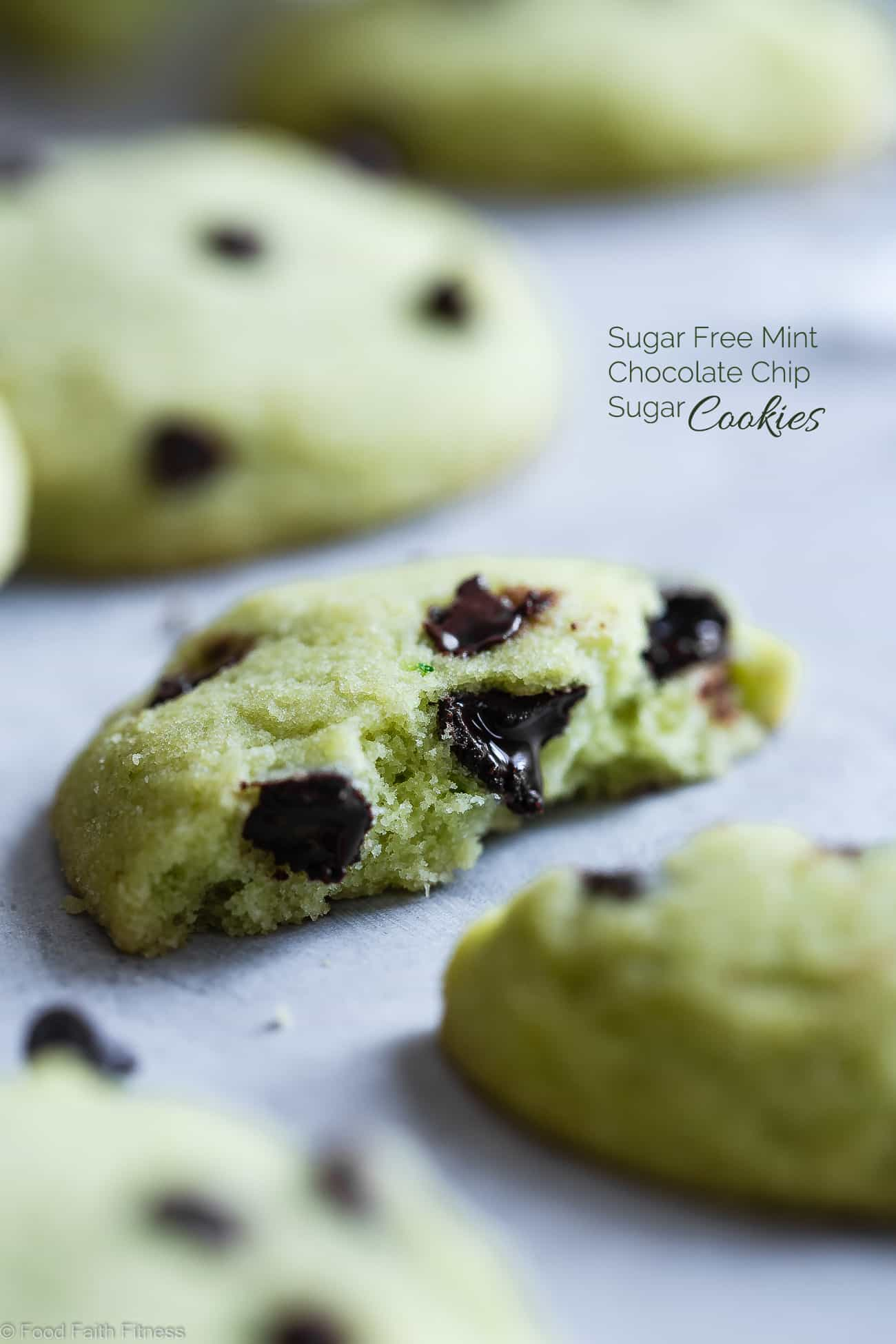 Gluten Free Mint Chocolate Chip Sugar Cookies - These healthy sugar cookies are SO soft and chewy that you will never believe they're sugar free, naturally colored and only 90 calories and 4 SmartPoints! Perfect for Christmas!   Foodfaithfitness.com   @FoodFaithFit