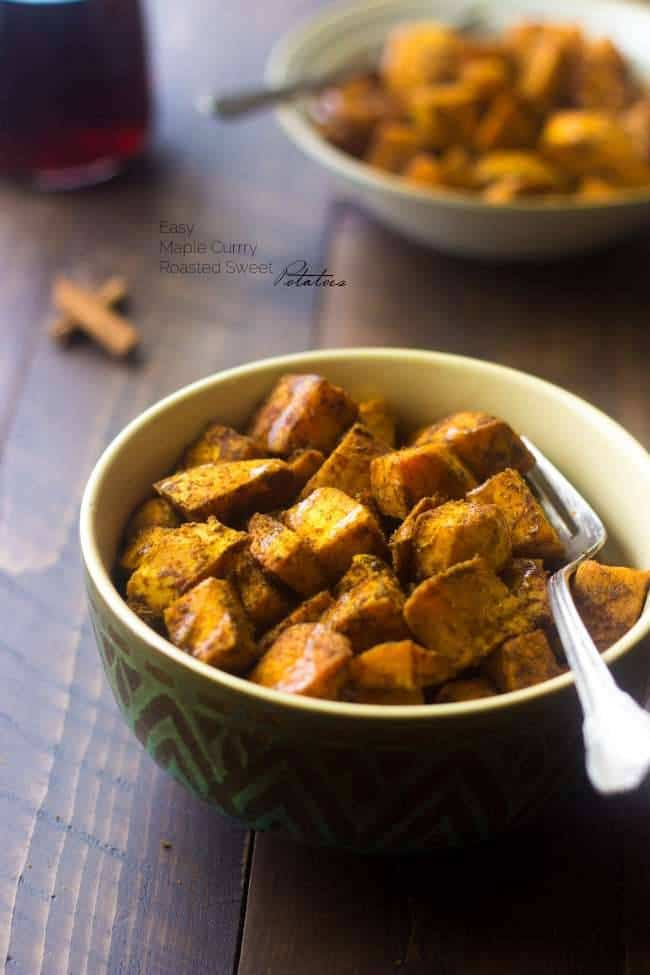 Paleo Maple Oven Roasted Sweet Potatoes in Coconut Oil - A quick and easy side dish with only 6 ingredients! Your family is going to love this healthy recipe on Thanksgiving! | Foodfaithfitness.com | @FoodFaithFit