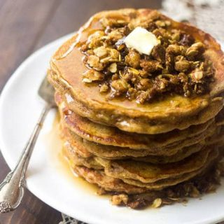 Whole Wheat Apple Crisp Pancakes - These pancakes taste like dessert for breakfast! Using Greek yogurt keeps them light, healthy and SO creamy! | Foodfaithfitness.com | #recipe