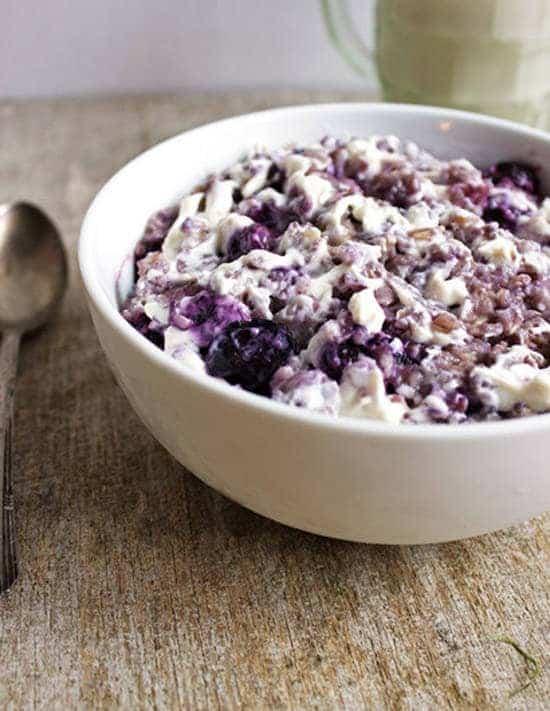 Top 14 Recipes of 2014 - Blueberry Cheesecake Oatmeal | Foodfaithfitness.com | #recipe