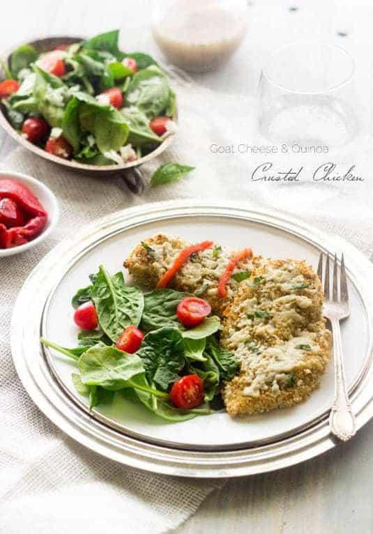 Top 14 Recipes of 2014 - Goat Cheese and Quinoa Crusted Chicken | Foodfaithfitness.com | #recipe