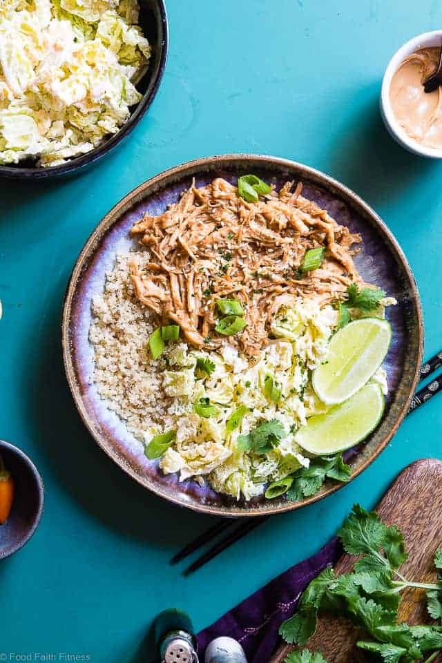 Slow Cooker Thai Peanut Butter Chicken Quinoa Bowls