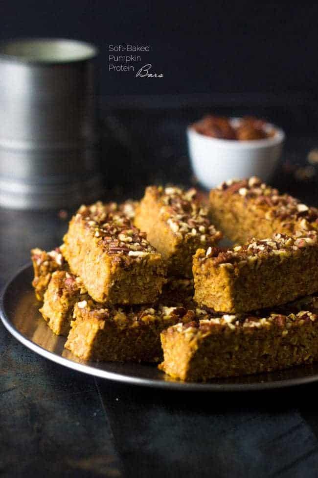 Top 14 Recipes of 2014 - Pumpkin Protein Bars | Foodfaithfitness.com | #recipe