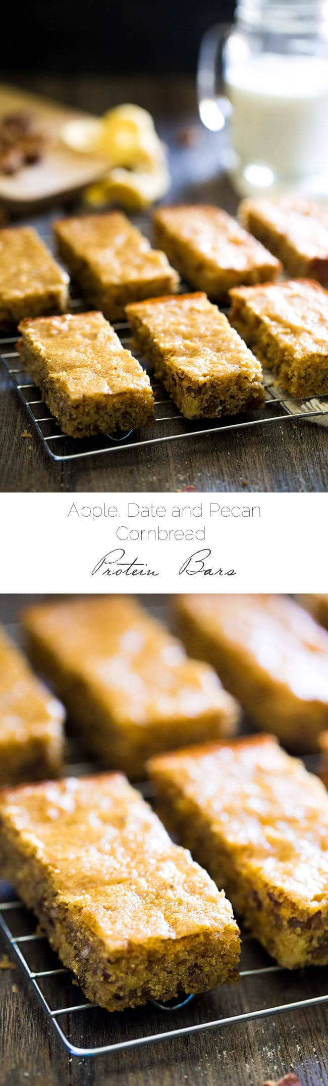 Healthy Cornbread Protein Bars with Apples and Dates - All the taste of cornbread in a delicious, protein-packed, gluten free and naturally sweetened on-the-go snack! | Foodfaithfitness.com | #recipe