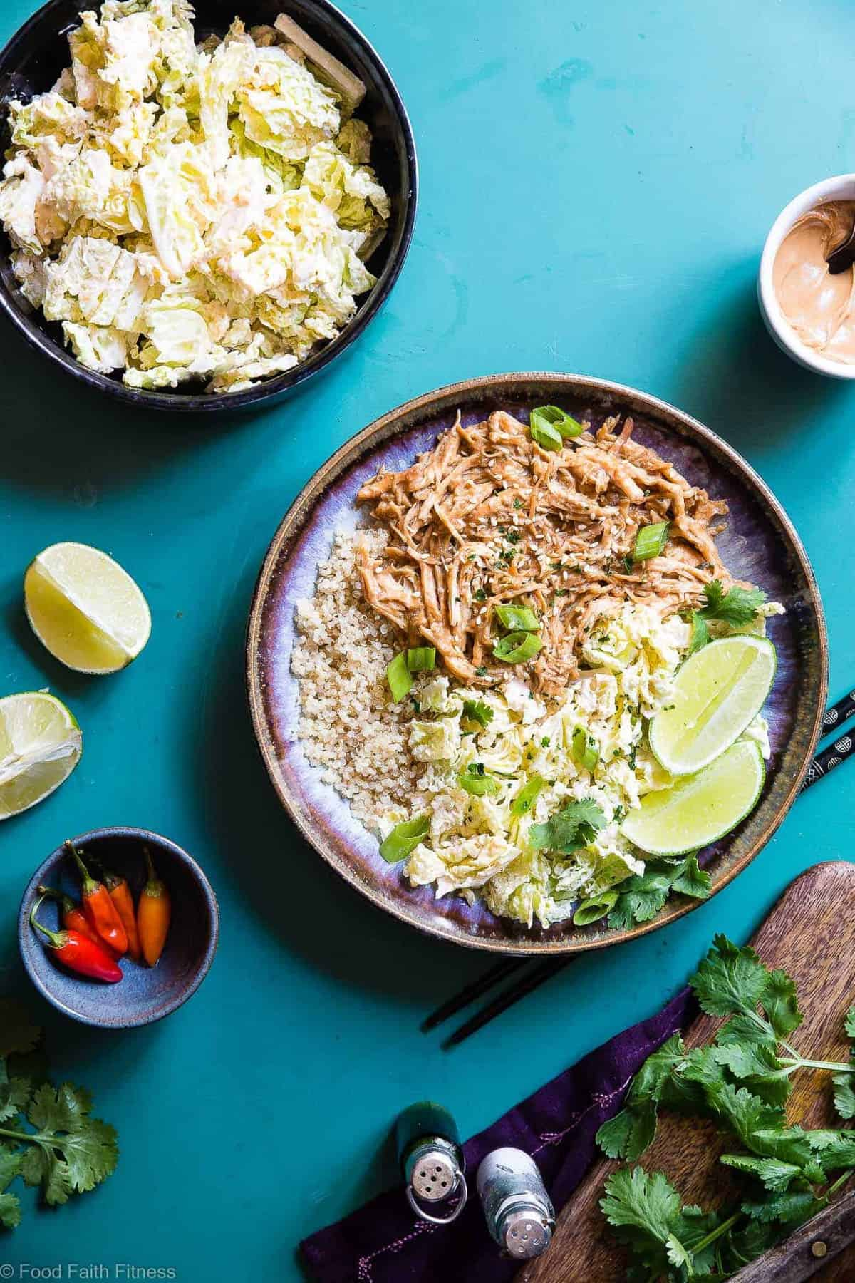 Slow Cooker Thai Peanut Butter Chicken Quinoa Bowls -CREAMY crockpot Thai peanut chicken ismixed with quinoa and a spicy cabbage slaw to make a family friendly, gluten free and healthy meal! Theslow cooker does the work for you! | #Foodfaithfitness | #Glutenfree #Dairyfree #Healthy #Slowcooker #Crockpot