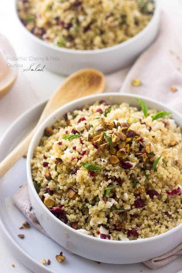 Pistachio and Cherry Quinoa Salad | Foodfaithfitness.com | @FoodFaithFit