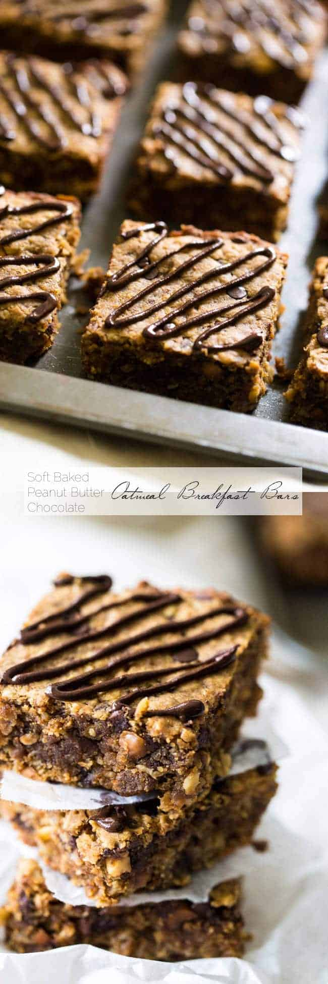 Chocolate Peanut Butter Oatmeal Breakfast Bars - Tastes like store bought but are high protein, gluten free and have no refined sugar, butter or oil!   Foodfaithfitness.com   @FoodFaithFit