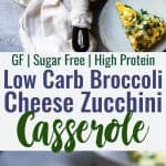 Baked Kale and Broccoli Cheesy Zucchini Casserole -This low carb, gluten freeHealthy Baked Cheesy Zucchini Casserole is a quick, easy and healthy dinner that even your kids will love! Protein packed, only 1 Freestyle point and 167 calories too! | #Foodfaithfitness | #Lowcarb #Keto #Glutenfree #Spiralized #Healthy