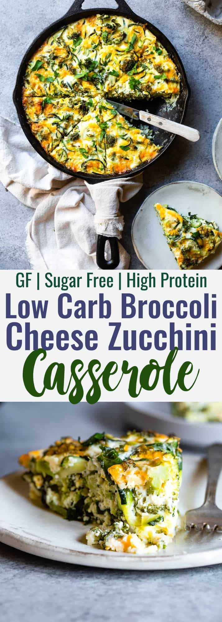 Baked Kale and Broccoli Cheesy Zucchini Casserole - This low carb, gluten free Healthy Baked Cheesy Zucchini Casserole is a quick, easy and healthy dinner that even your kids will love! Protein packed, only 1 Freestyle point and 167 calories too! | #Foodfaithfitness | #Lowcarb #Keto #Glutenfree #Spiralized #Healthy