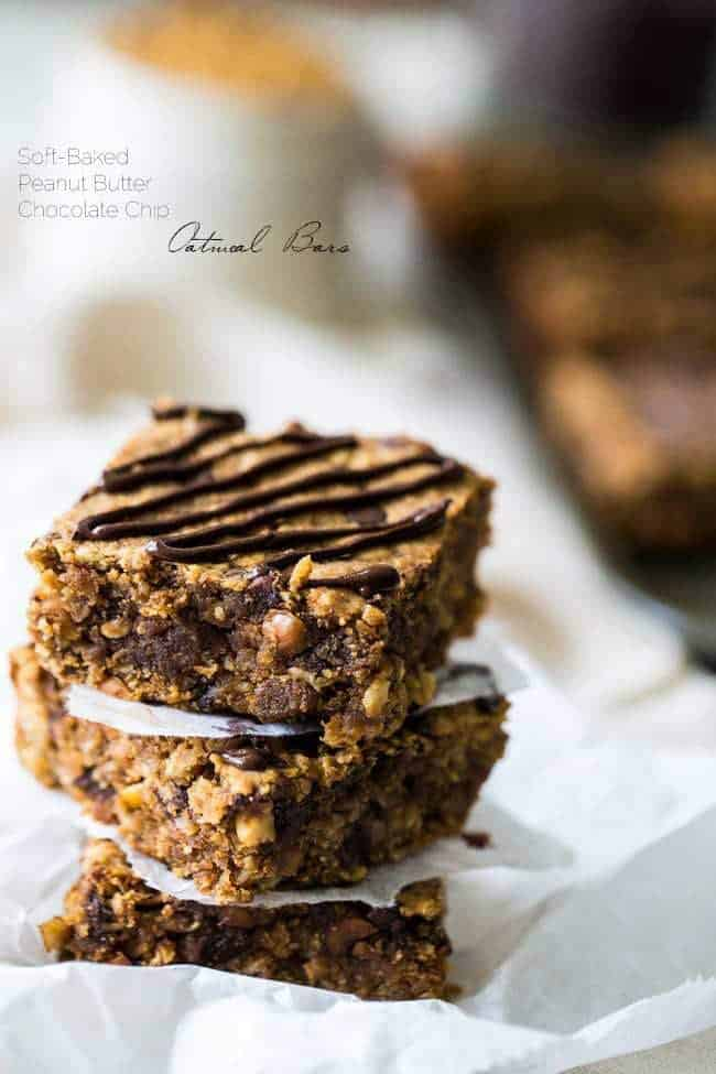 Healthy Peanut Butter Oatmeal Breakfast Bars - Tastes like store bought but are high protein, gluten free and have no refined sugar, butter or oil!   Foodfaithfitness.com   @FoodFaithFit