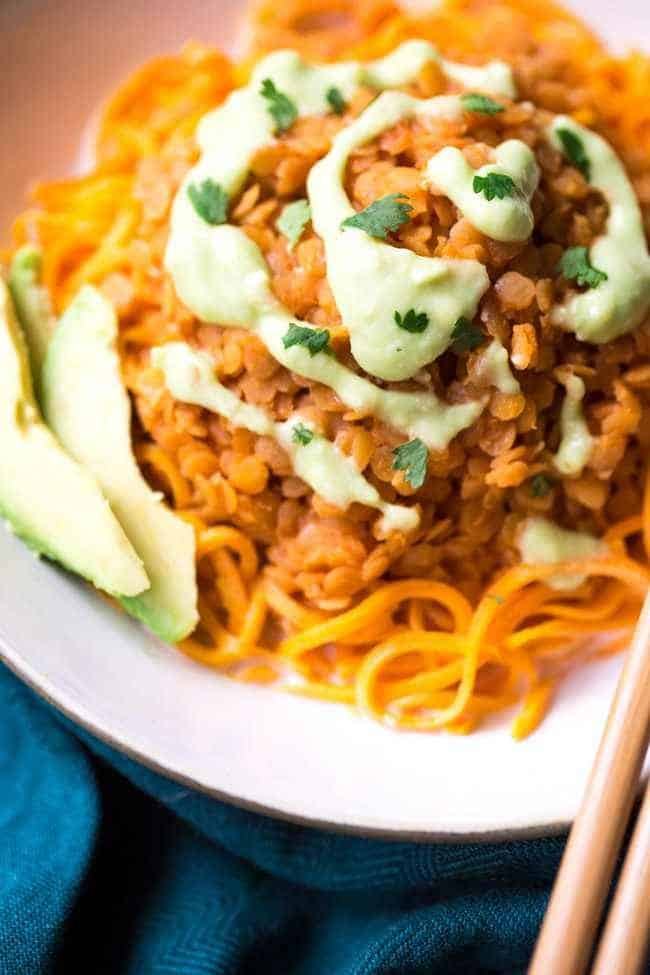 Red Lentil Curry and Spiralized Sweet Potato Noodle Bowls - Gluten free, Vegan and ready in 20 minutes!   Foodfaithfitness.com   @FoodFaithFit