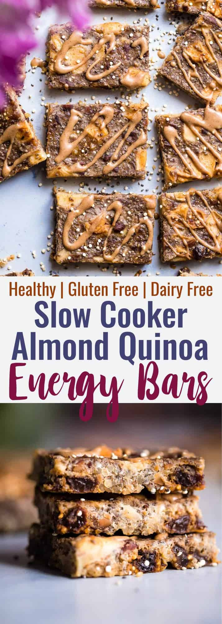 Healthy Quinoa Breakfast Bars in the Slow Cooker - The slow cooker basically makes these energy quinoa breakfast bars for you! Gluten and dairy free and loaded with fiber to keep you full! Great for snacks too! | #Foodfaithfitness | #Glutenfree #Dairyfree #Healthy #Slowcooker #Crockpot
