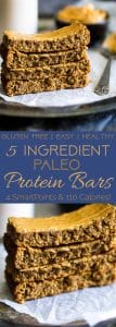 Paleo Protein Bar Recipe - 5 ingredients, one bowl and 20 minutes is all you need to make these soft and chewy bars! The a healthy, portable snack! | Foodfaithfitness.com | @FoodFaithFit