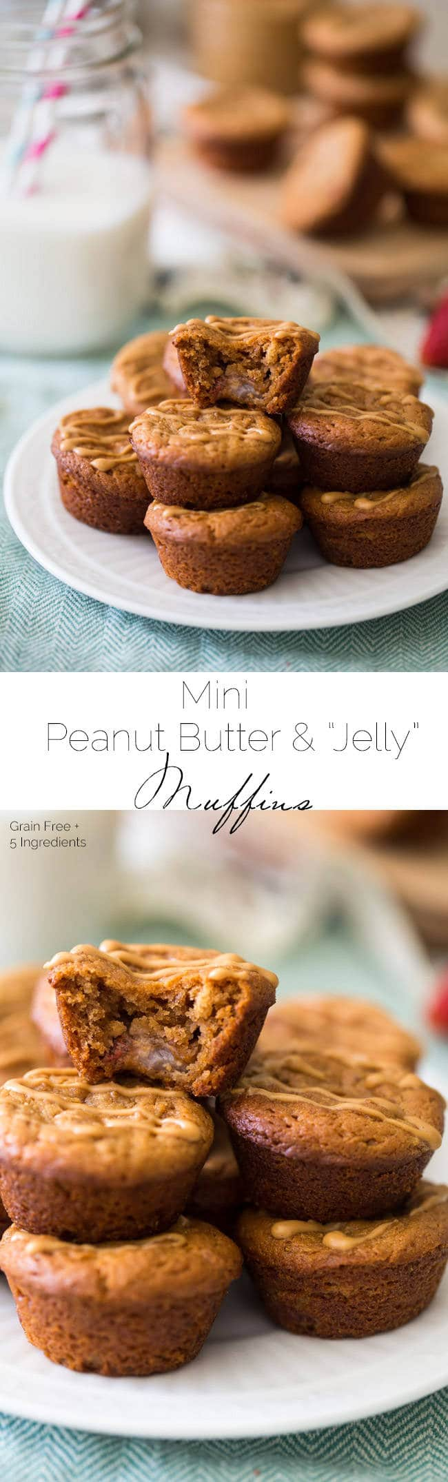 Mini Peanut Butter Muffins with Strawberries - These gluten and grain free muffins are made in the food processor and are ready in 15 minutes! Perfect for a healthy, portable, breakfast or snack! | Foodfaithfitness.com | @FoodFaithFit
