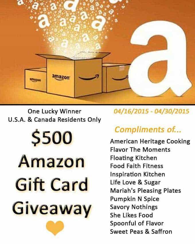 $500 Amazon Gift Card Giveaway!   Foodfaithfitness.com   @FoodFaithFit