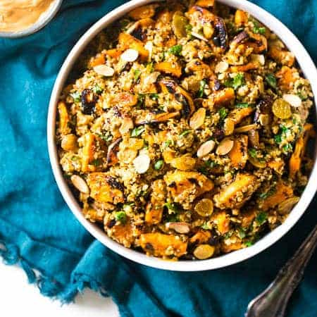 Grilled Sweet Potato Salad with Curry Almond Butter Vinaigrette
