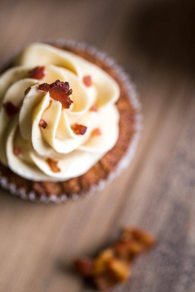 Paleo Maple Bacon Gluten Free Cupcakes - Naturally sweetened with maple syrup, swirled with bacon and topped with Bacon Buttercream! You NEED to try these! | Foodfaithfitness.com | @FoodFaithFit