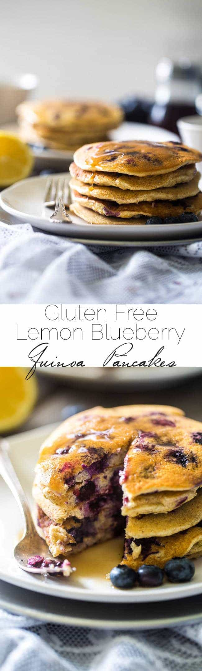 Quinoa Blueberry Lemon Gluten Free Pancakes - Made with Greek yogurt for a healthy breakfast that is packed with protein and perfect for Spring! | Foodfaithfitness.com | @FoodFaithFit