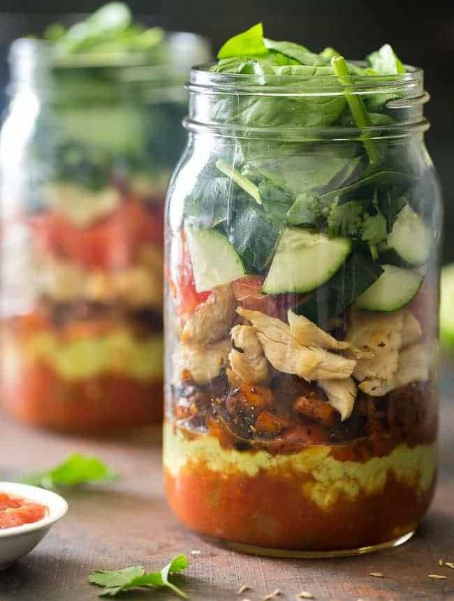Taco Mason Jar Salad Recipe {Paleo, High Protein, Super Simple + Low Carb}