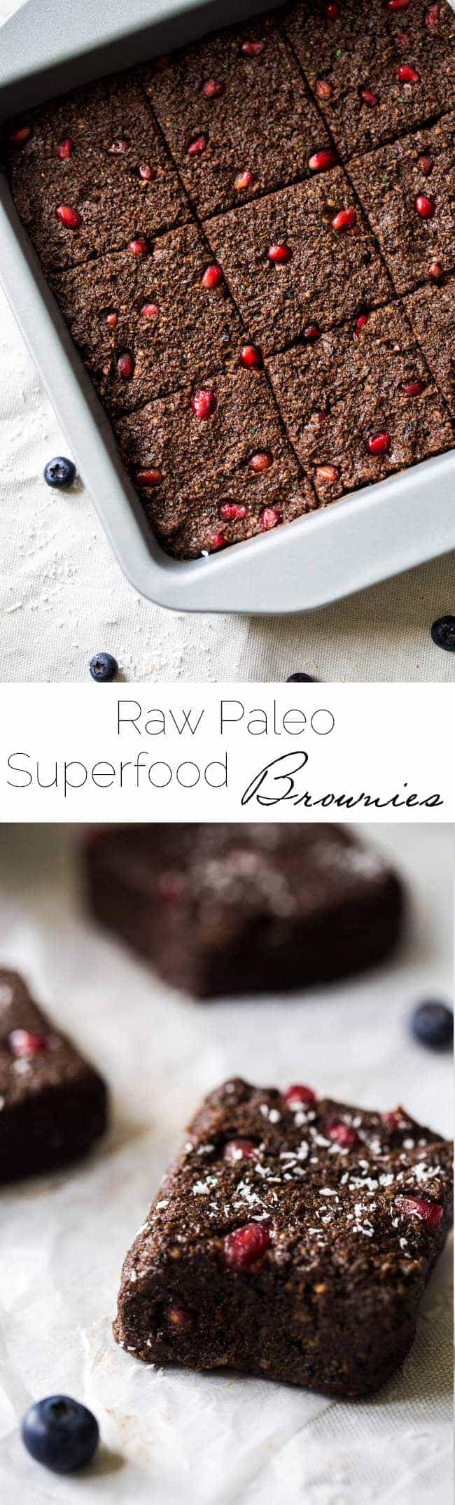 Superfood Raw Paleo Brownies - Made in the food processor and are a no-bake, healthy treat that is loaded with superfoods and protein! Easy and delicious! | Foodfaithfitness.com | @FoodFaithFit
