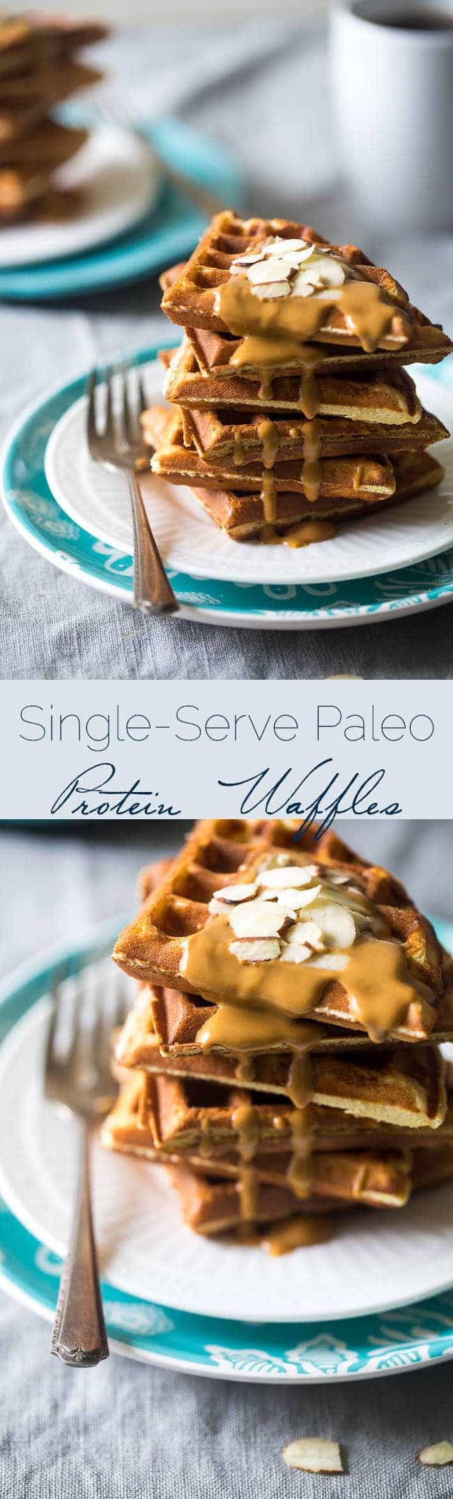 Paleo Protein Waffles - Single serve, packed with protein, and are ready in 5 minutes so you can have healthy. gluten free waffles any day of the week! | Foodfaithfitness.com | @FoodFaithFit