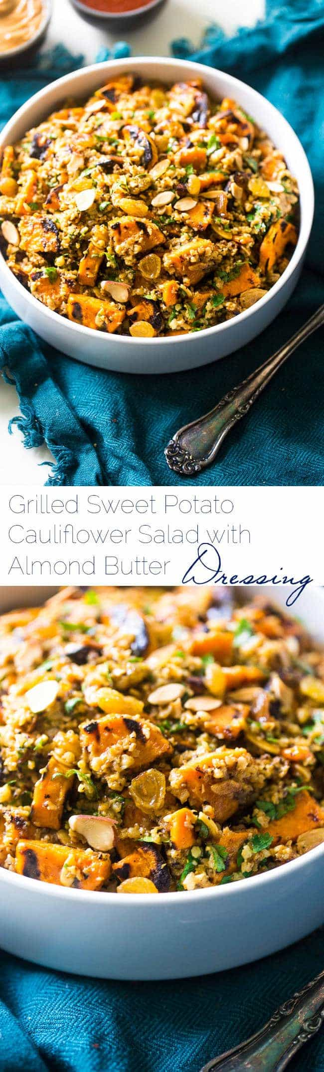 Grilled Sweet Potato Salad with Curry Almond Butter Vinaigrette - Grilled sweet potatoes, cauliflower rice and creamy almond butter make this a healthy, Paleo, whole & Vegan-friendly side dish for the Summer! | #Foodfaithfitness | #paleo #vegan #whole30 #healthy #potatosalad