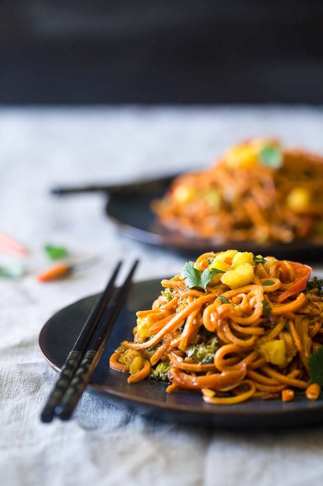 Vegan Coconut Sweet Potato Curry with Sweet Potato Noodles Recipe – This curry is ULTRA creamy and loaded with veggies, for a quick and SO easy, healthy dinner that is gluten free, vegan and paleo friendly! This has RAVE reader reviews! | #FoodFaithFitness | #Glutenfree #Vegan #Paleo #Dairyfree #Healthy