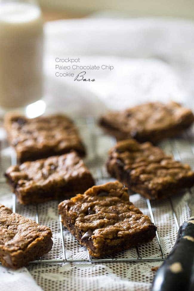 Crock Pot Paleo Cookies with Chocolate Chips – Let the crock pot do the work for you with these cookies that are loaded with gooey chocolate! An easy, healthy, grain-free treat!   Foodfaithfitness.com   @FoodFaithFit