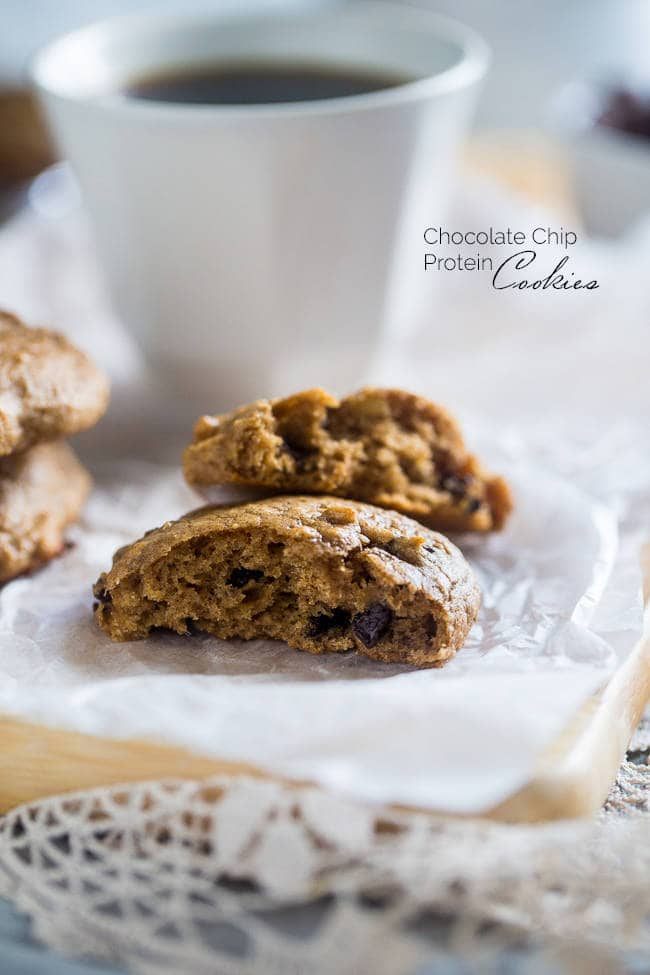 Gluten Free Chocolate Chip Cookies - Naturally sweetened with banana and made with a secret ingredient so they're high protein! Easy and healthy enough for breakfast! | Foodfaithfitness.com | @FoodFaithFit